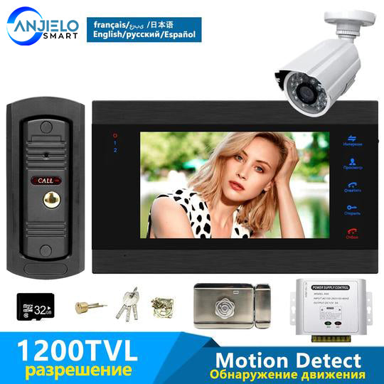 Home 7 Inch Video Door Phone System with 32G Memory SD Card & Access Control Power Supply&Electric Lock& 1200TVL Security Camera