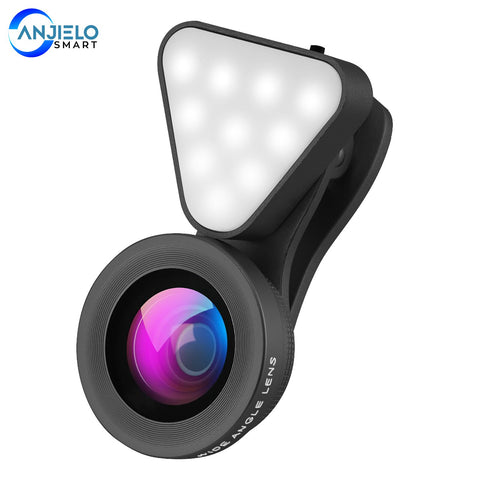 New 2 in 1 Phone Camera Lens with Selfie Fill Light Rechargeable Macro 0.4X-0.6X Wide Angle Lens Kit for iPhone Galaxy