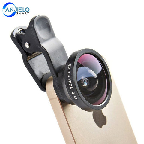 New Mobile Phone Lens Kit 0.4xWide Angle + 12.5xMacro Multifunctional Practical Ultra-portable for iPhone  Huawei smartphone(Gift)