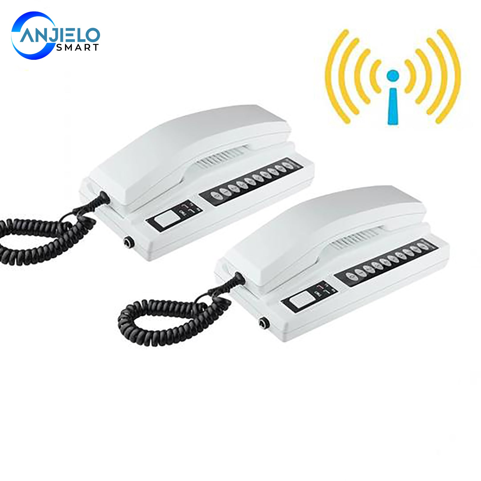 AnjieloSmart New Wireless 2.4GHz 433MHz Recharged Audio Intercom System Secure Interphone Handsets