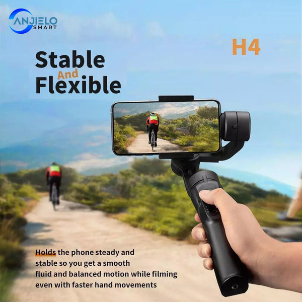 AnjieloSmart Outdoor Holder 3-Axis Flexible H4 Handheld Gimbal Stabilizer for iPhone 11 9 8 Huawei Samsung Smart Phone PTZ Action Camera