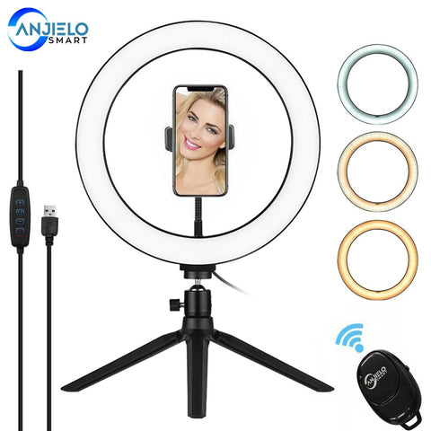 AnjieloSmart Photography 10 Inch LED Ring Light Tripod Stand Bluetooth Remote