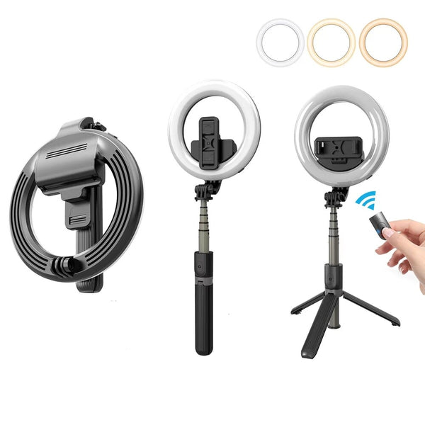 AnjieloSmart Portable Wireless Bluetooth Mini Selfie Stick Foldable Extendable Handheld Remote Shutter Tripod With 5in LED Ring Light