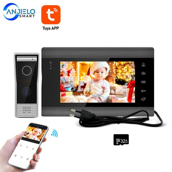 Tuya 7 inch 720P/AHD Wifi Home Video Doorphone Intercom System Support Remote Unlock Motion Detect Record with 32G memory Card