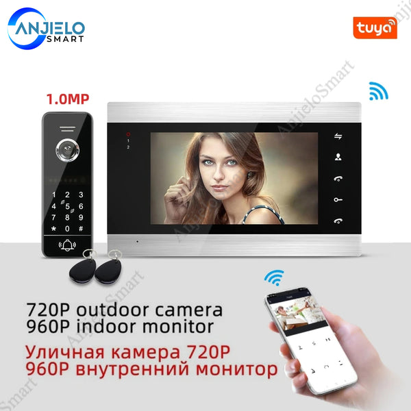 AnjieloSmart Tuya App Remote Control WiFi Video Door Intercom Home Door Access Control System Motion Detection