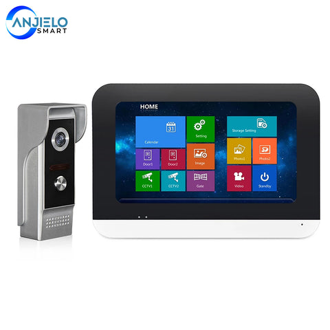 AnjieloSmart villa touch screen video intercom doorphone waterproof night vision camera doorbell access control intercom system