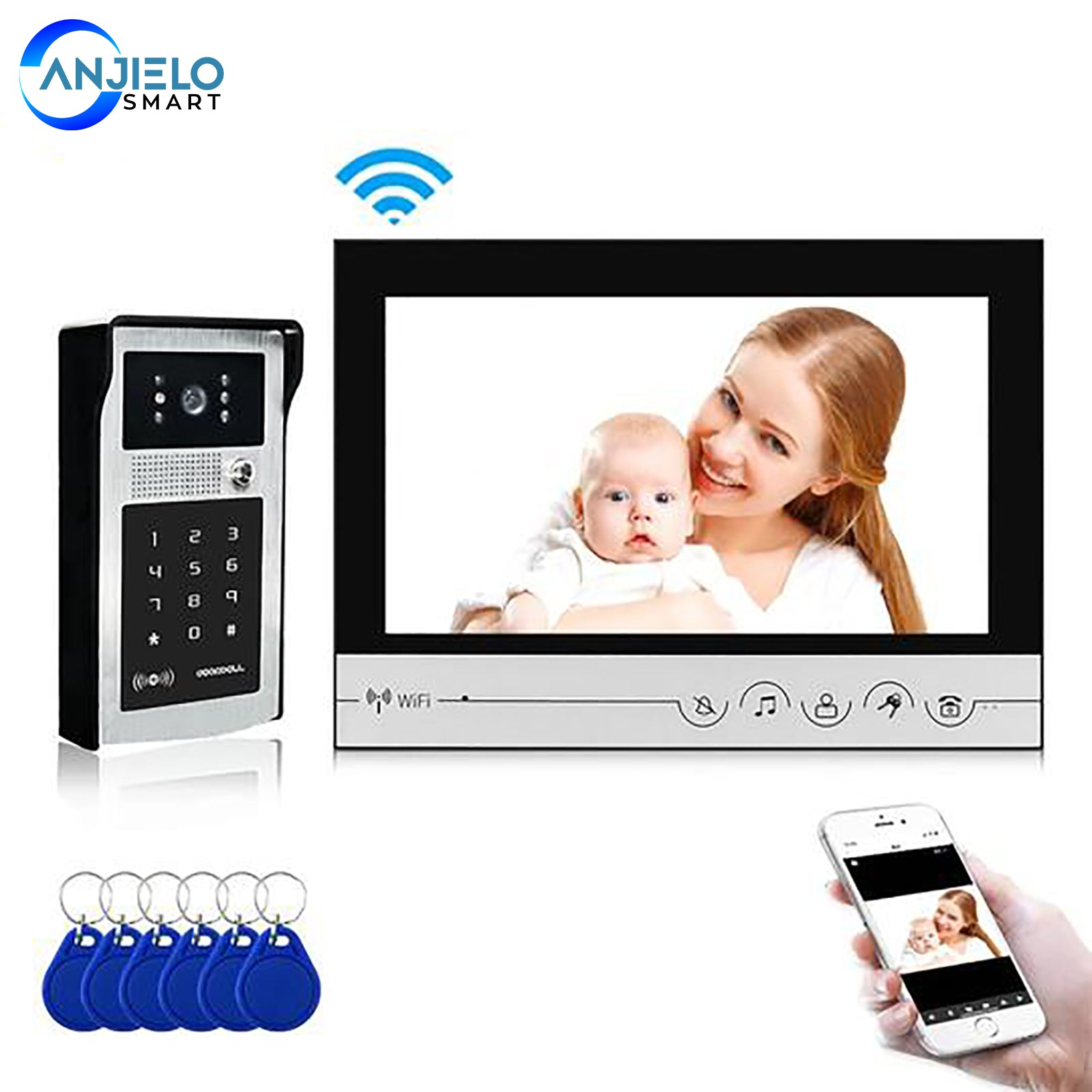 WIFI Smart 9 Inch Home Video Doorbell System Visual Door Phone Unlock HD Screen