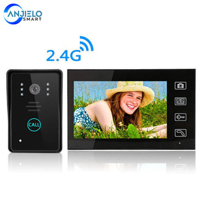 Wireless 2.4GHz 7 Inch Video Doorbell Built-in Battery Doorphone Intercom System Support Remote Unlock Electronic Lock for Villa