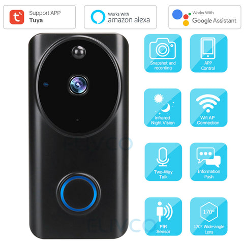 Anjielo Smart Video Doorbell Tuya 1080P WiFi Smart Video Intercom Door Bell IP Camera Home Security Monitor Compatible Alexa Google Assistant