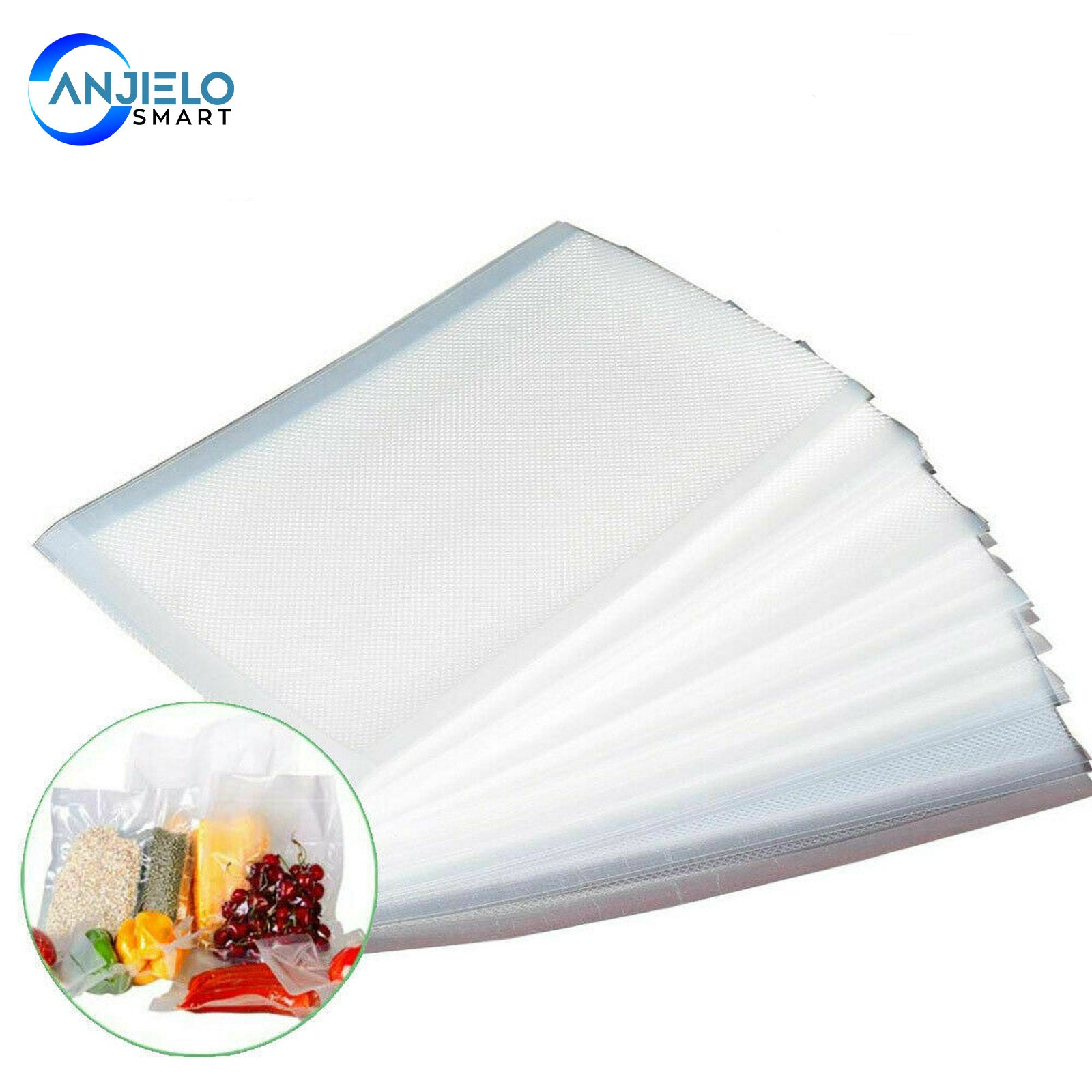 AnjieloSmart Vacuum Sealer Bags for Food Saver 100 Count Compression Storage Bags