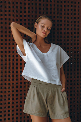 Relaxed Crop Shirt in White and Edith Shorts