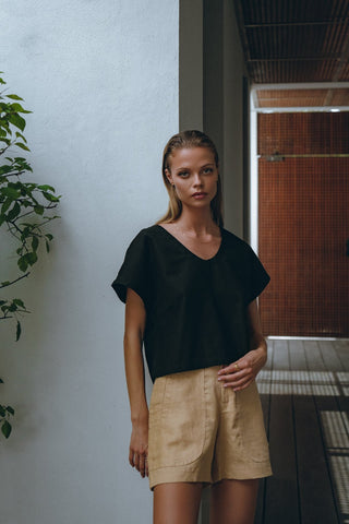 Relaxed Crop Shirt and Tailored Linen Shorts