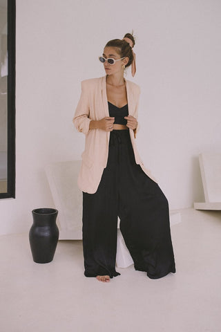 Wide Leg Pants in Black and Gold