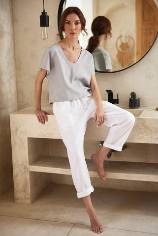 Pearl Linen Top and Loose Linen House Pants
