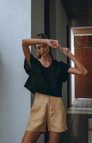 Relaxed Crop Shirt in Black + Tailored Linen Shorts in Nude