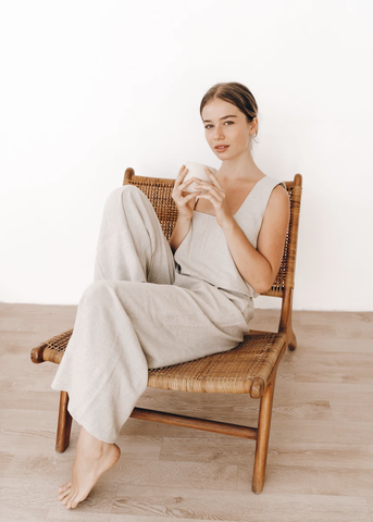 The Roma Top and Monaco Pants in Oatmeal