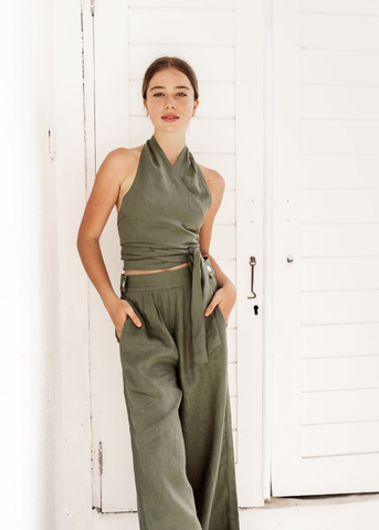 The Milan Top and Roma Pants in Sage