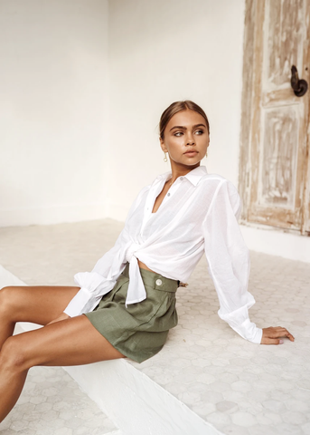 Cannes Shirt in White and Florence Shorts in Sage