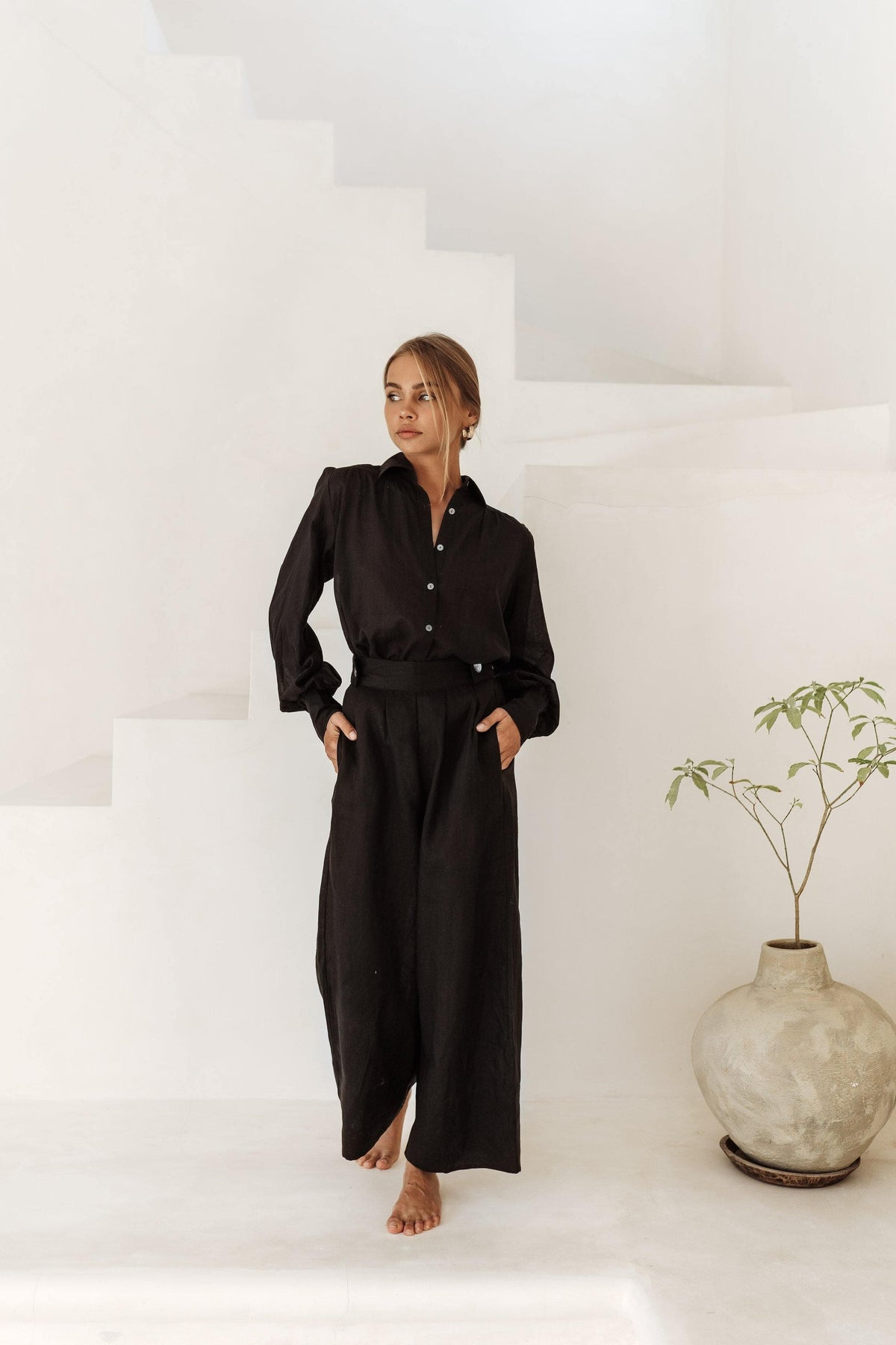 Cannes Shirt and Monaco Pants in Black