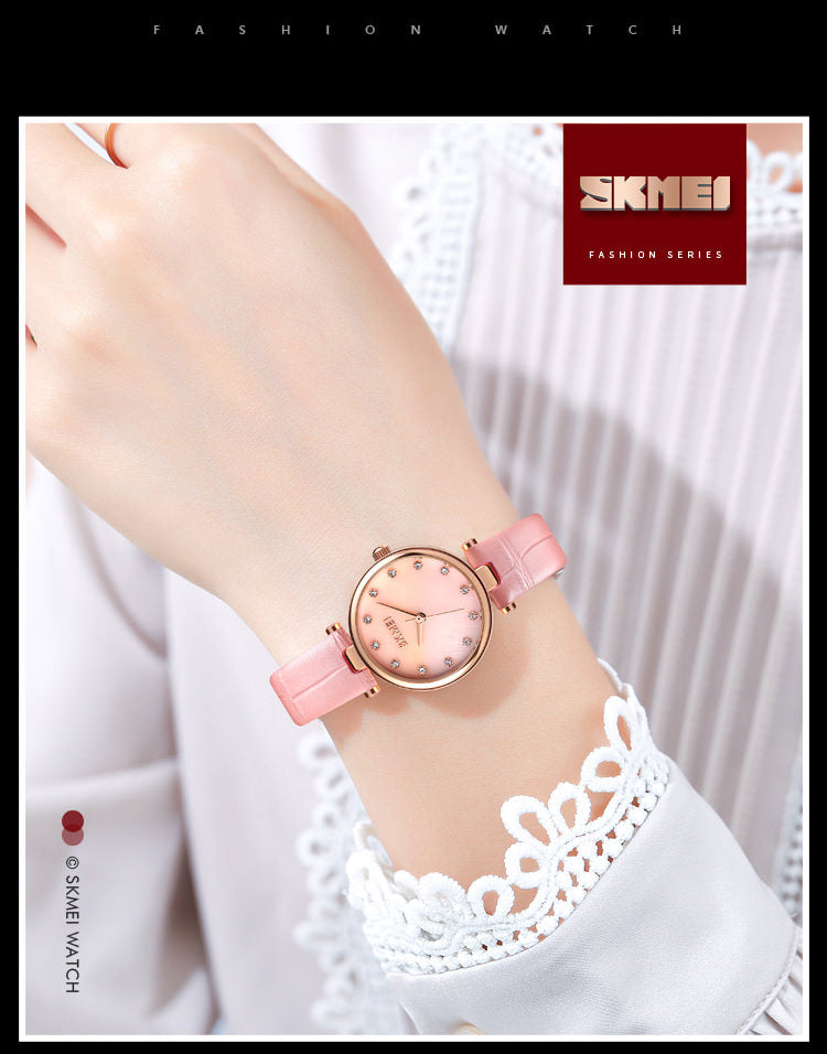 SKMEI 1777 Simple Leather Band Watch for Women