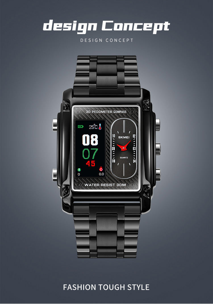 SKMEI 1802 Multifunction Square Compass Watch w/ Thermometer & 3D Pedometer
