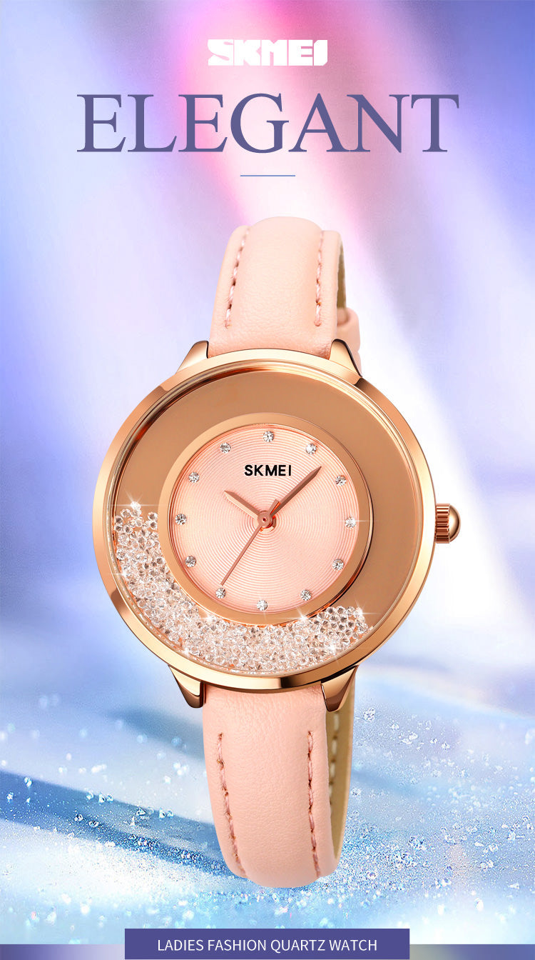 SKMEI 1782 Leather Band Watch for Womens w/ Rotatable Rhinestone