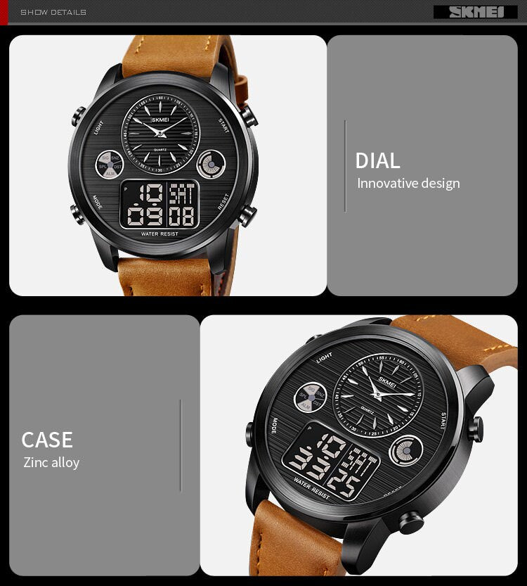 SKMEI 1653 Korean Style Dual Time Watch, Big Face Watches