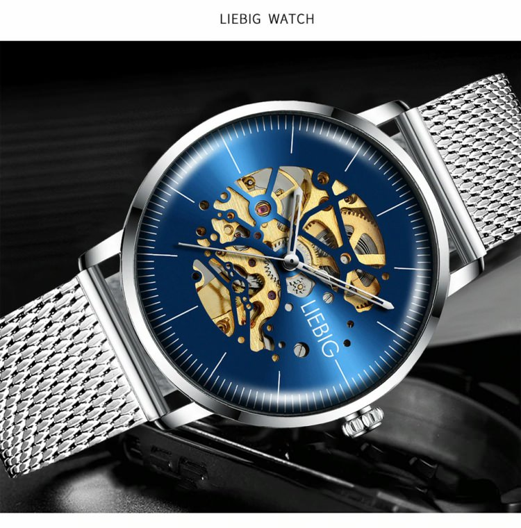 LIEBIG L3001 Skeleton Exposed Gear Watch for Men