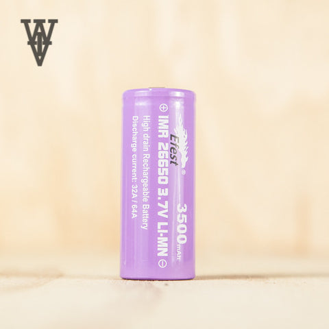 Efest Purple 26650 3500mAh Battery - Flat Top - Whole Vape Inc. - 1