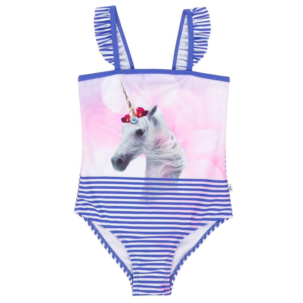 Blue Striped One-Piece Swimsuit With Unicorn Print Girl B30M61_041