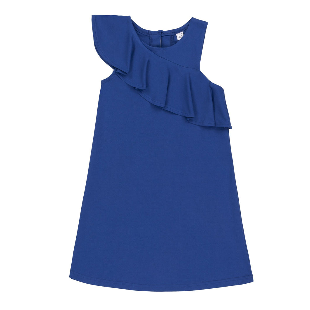 Ruffled Sleeve Royal Blue Dress Girl B30O93_498