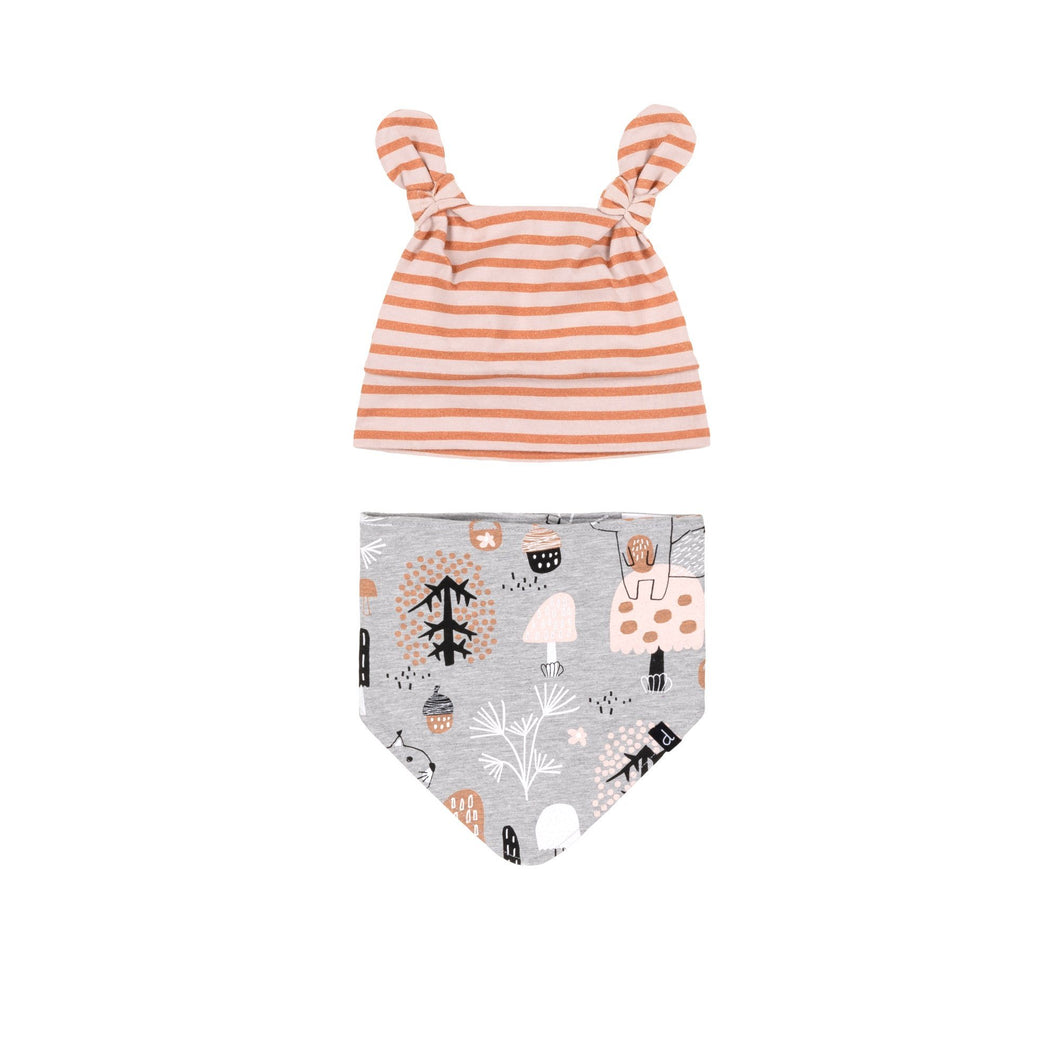 Printed Forest Friends Hat & Bibs Set Baby Girl C20ABC_029