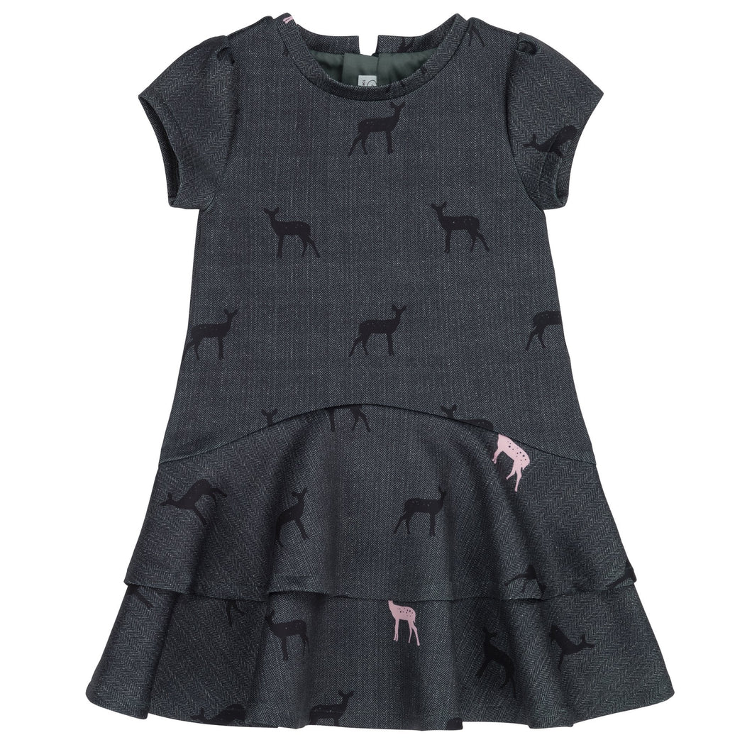 Herringbone Pattern Dress With Doe Print Girl C20E94_000