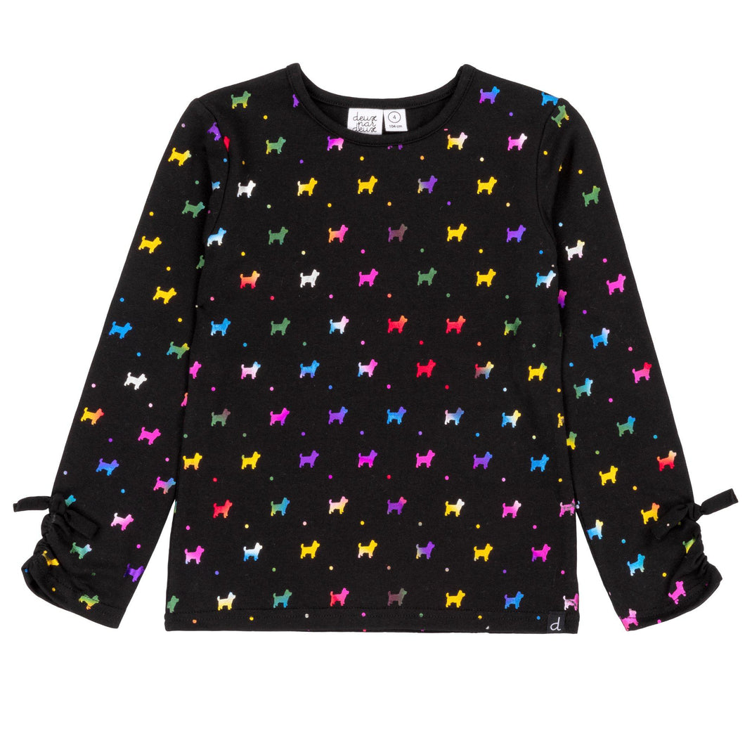 Printed Multicolor Corgi Long Sleeve T-Shirt Girl C20G71_999