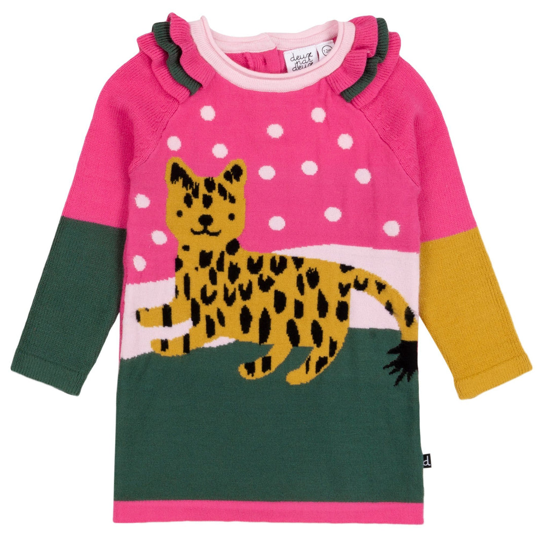 Multicolor Knitted Sweater Dress With Cheetah & Frills Girl C20IT95_000