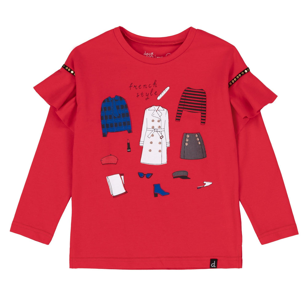 Red French Style Print Long Sleeve T-Shirt With Frills Girl C20J70_732