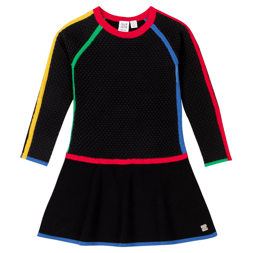 Black Knitted Sweater Dress With Color-Block Girl C20MT91_999