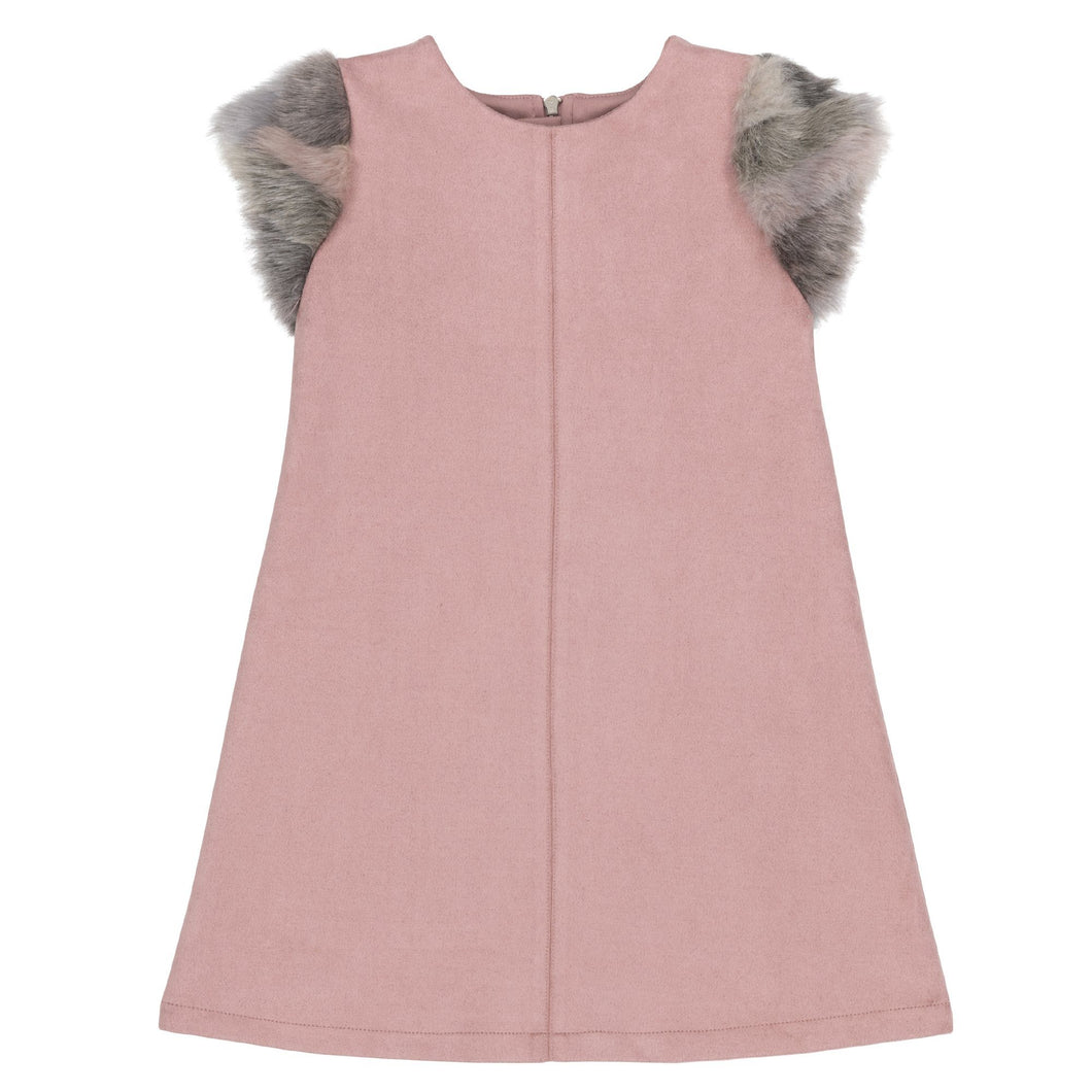 Pink Faux-Suede Dress With Faux-Fur Sleeve Girl C20N99_666