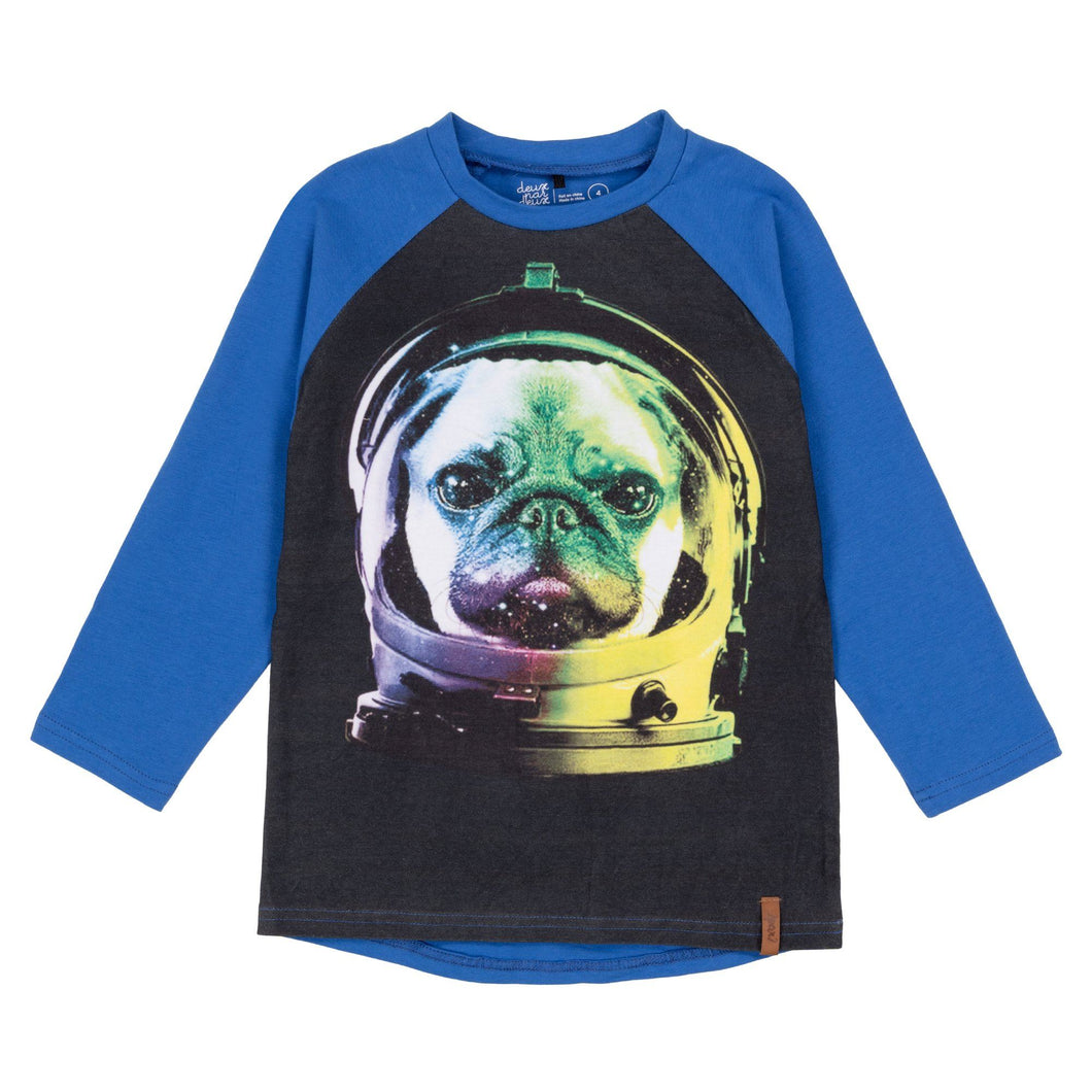 Printed Astronaut Pug Raglan Long Sleeve T-Shirt Boy C20U71_469