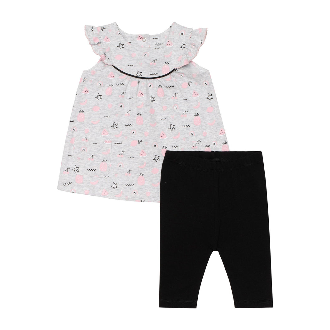 Organic Cotton Fruit Print Ruffle Tunic and Solid Legging Set Baby Girl C30C13_045
