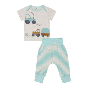 Organic Cotton Printed Top and Striped Evolutive Pant Set Baby Boy C30D11_195