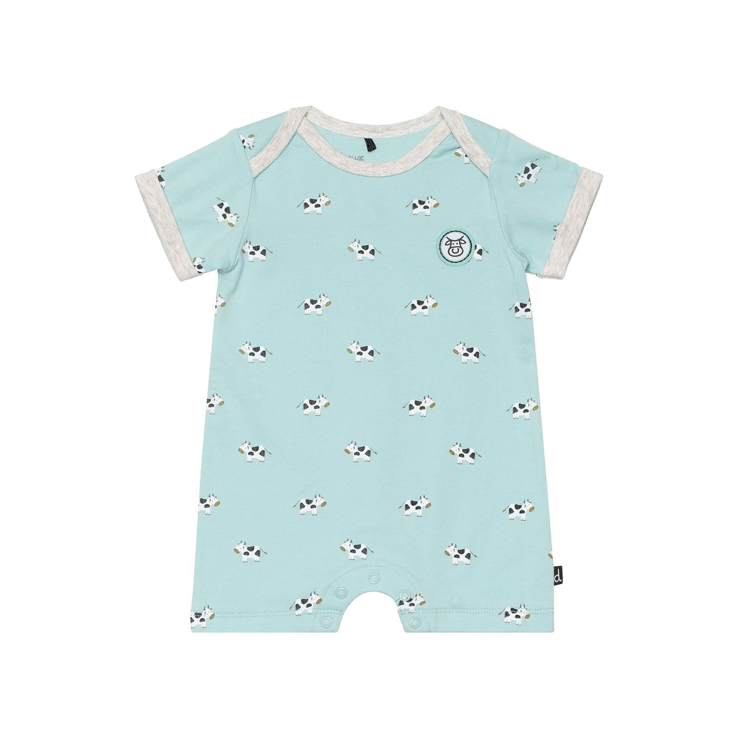 Organic Cotton Short Sleeve Turquoise Cow Print Romper Baby Boy C30D40_049