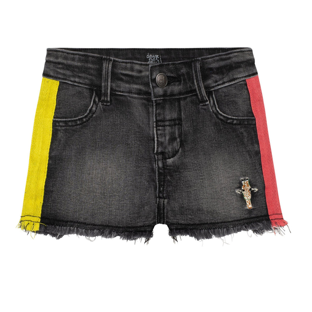 Denim Short With Embroidered Stripes Girl C30E27_124