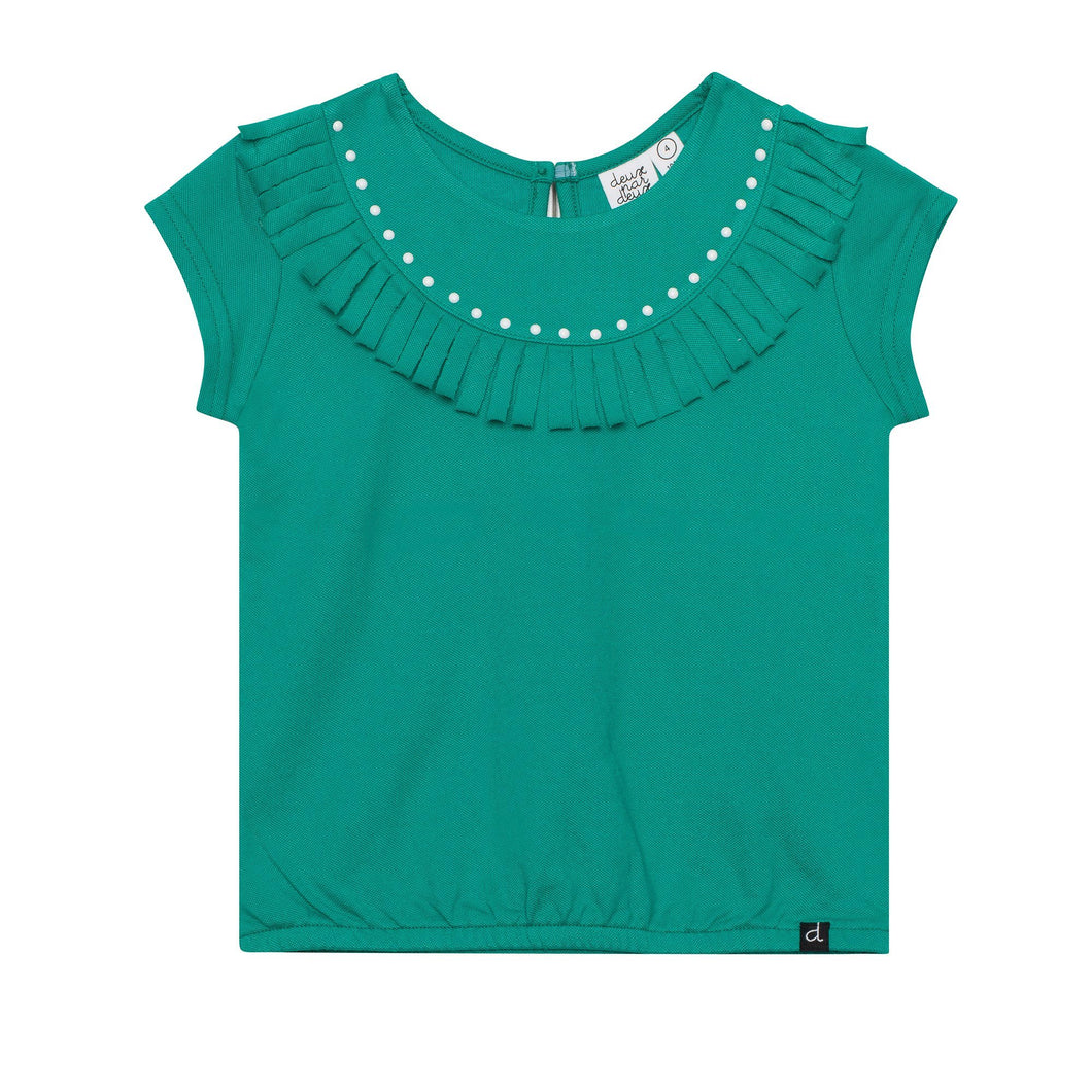 Short Sleeve Top With Studs and Fringe Girl C30E71_381
