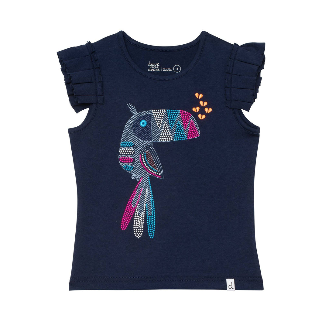 Organic Cotton Tee with Toucan Print Girl C30F70_481