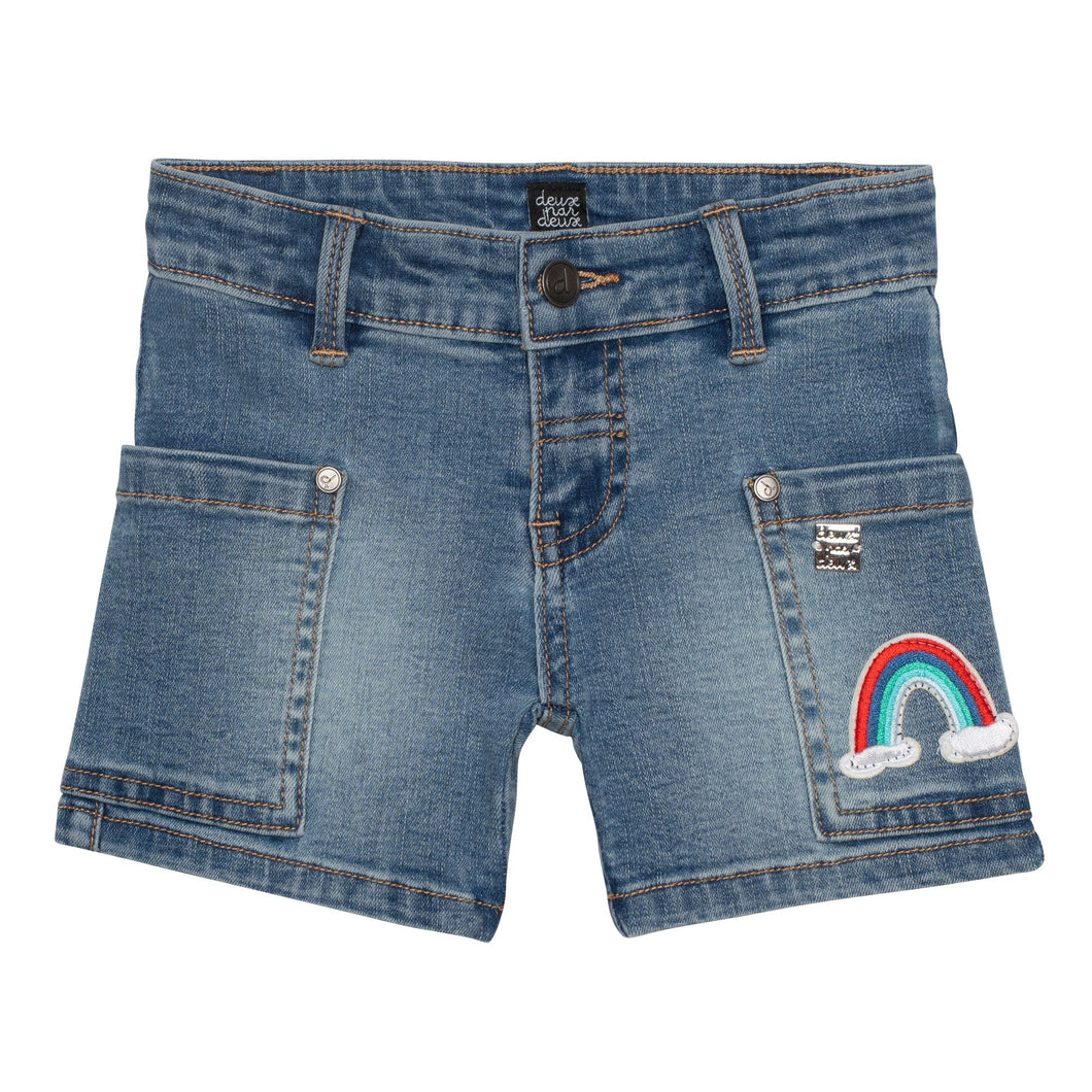 Denim Short with Rainbow Embroidery Girl C30G26_123