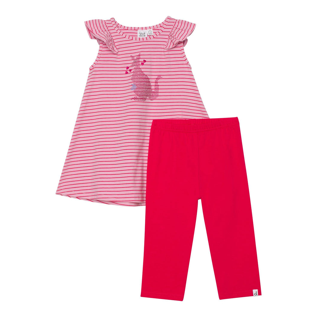Organic Cotton Striped Tunic and Capri Legging Set Girl C30H15_040