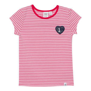 Organic Cotton T-Shirt with Pink Stripes Girl C30H70_040