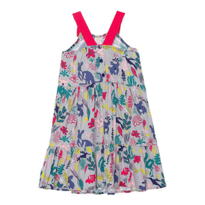 Printed Soft Woven Dress with Tie Straps Girl C30H90_038