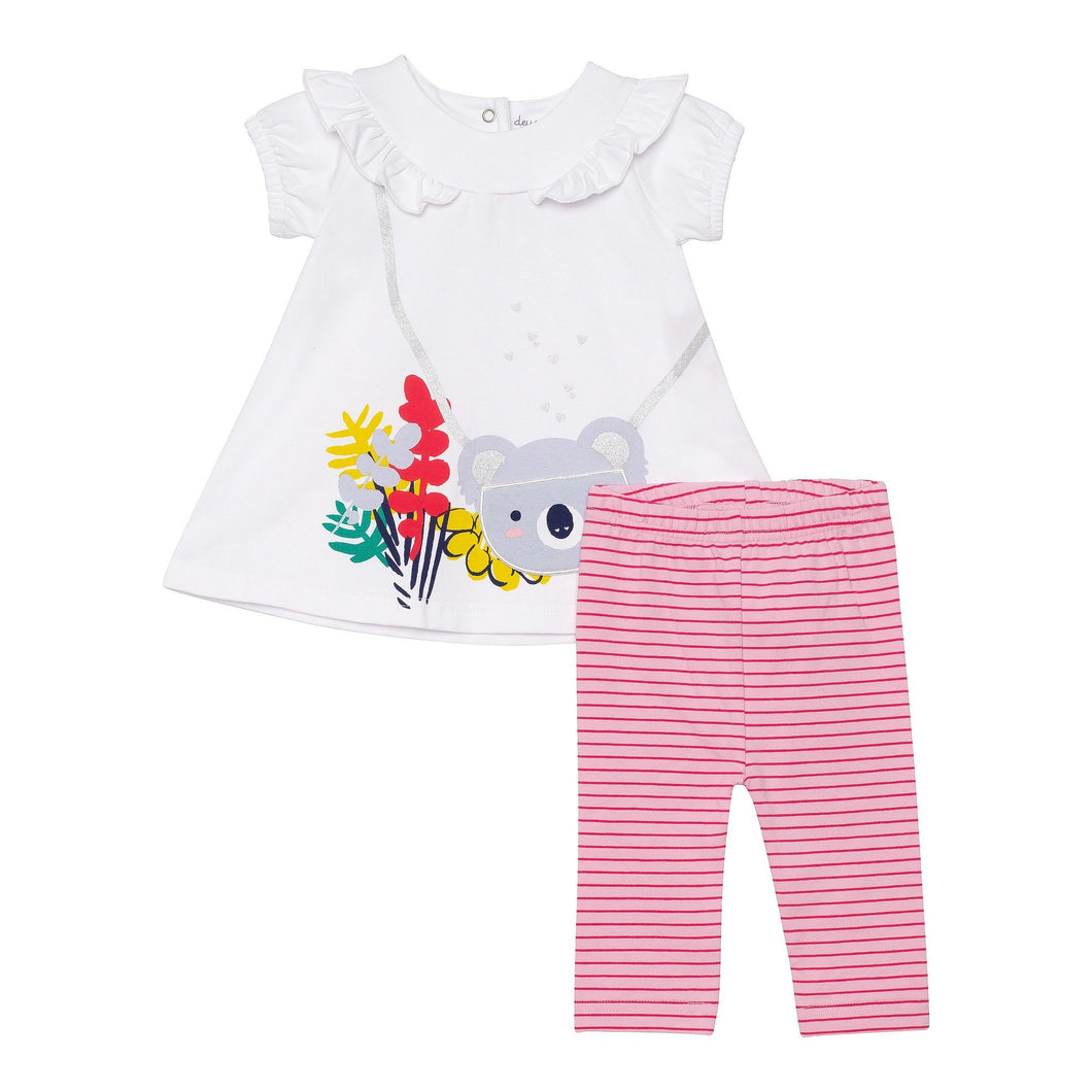 Organic Cotton Ruffle Top and Capri Legging Set Girl C30HH11_100